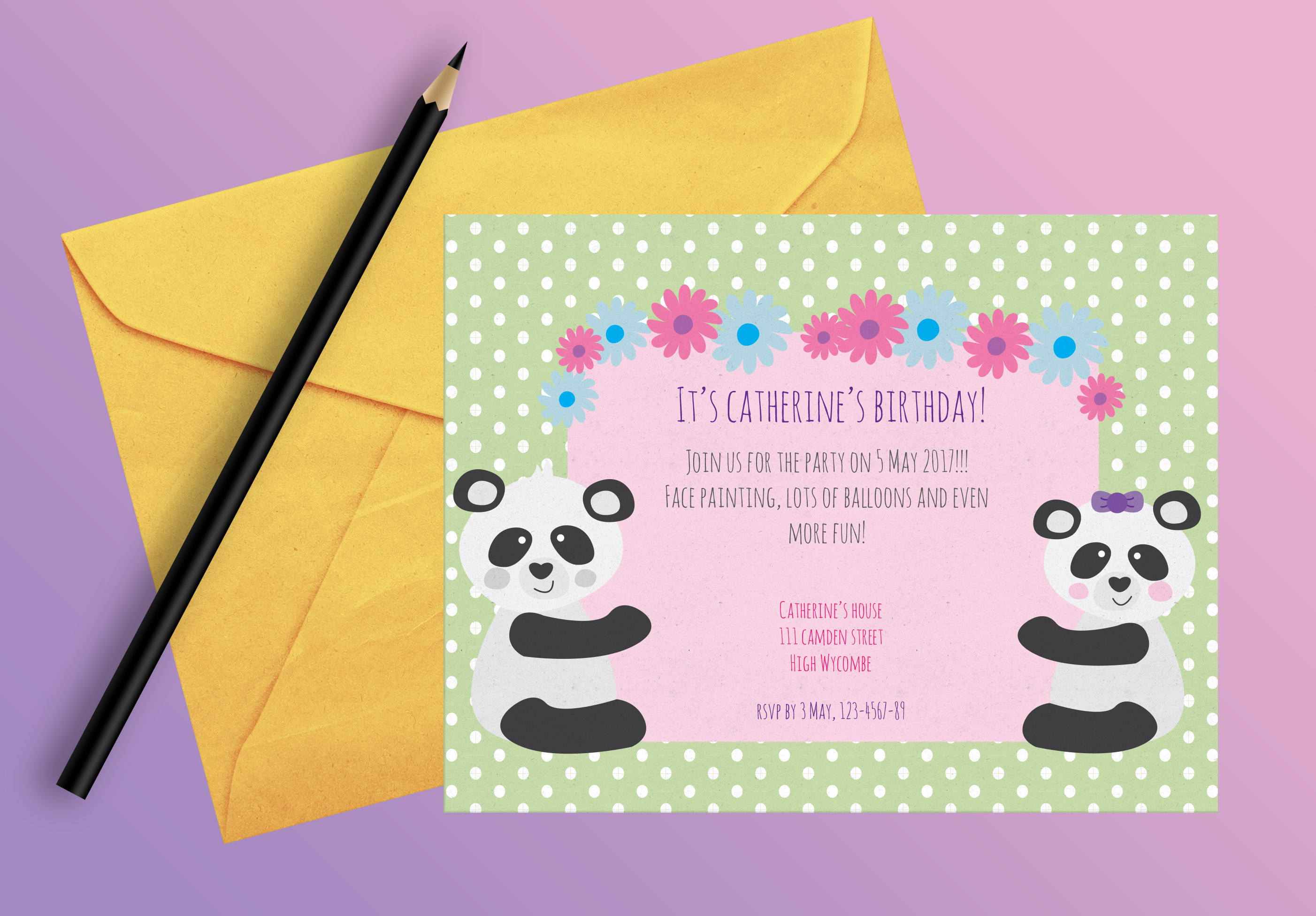 pandás szülinapi meghívó