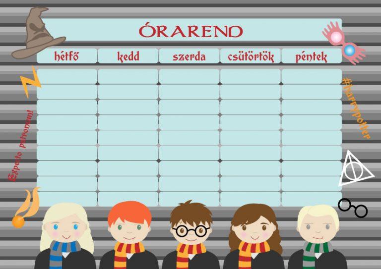 Letölthető Harry Potter órarend