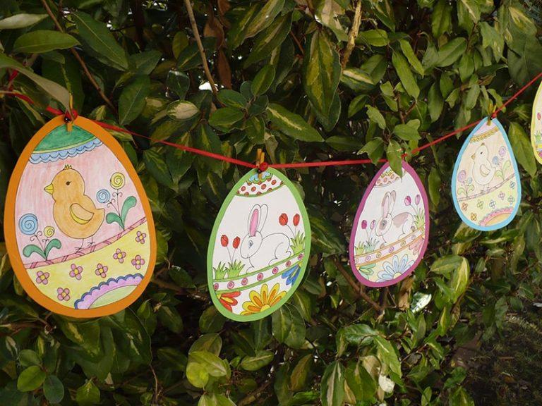 húsvéti tojás girland színezőből