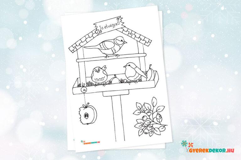 madáretetős téli színező gyerekeknek, letölthető